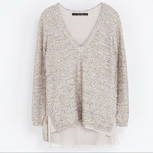 Zara Sequined Knit Sweater